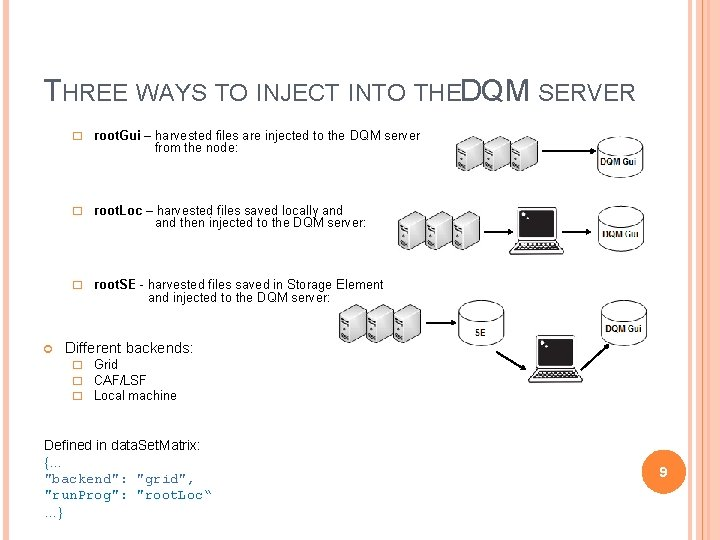 THREE WAYS TO INJECT INTO THEDQM SERVER � root. Gui – harvested files are