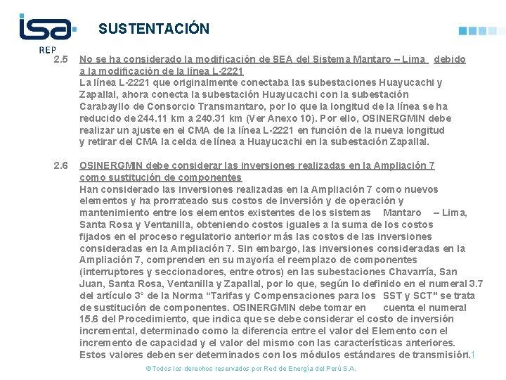 SUSTENTACIÓN 2. 5 No se ha considerado la modificación de SEA del Sistema Mantaro