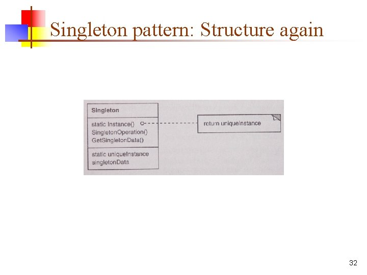 Singleton pattern: Structure again 32