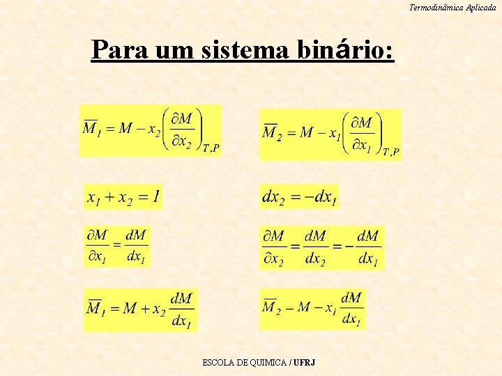 Termodinâmica Aplicada Para um sistema binário: ESCOLA DE QUIMICA / UFRJ
