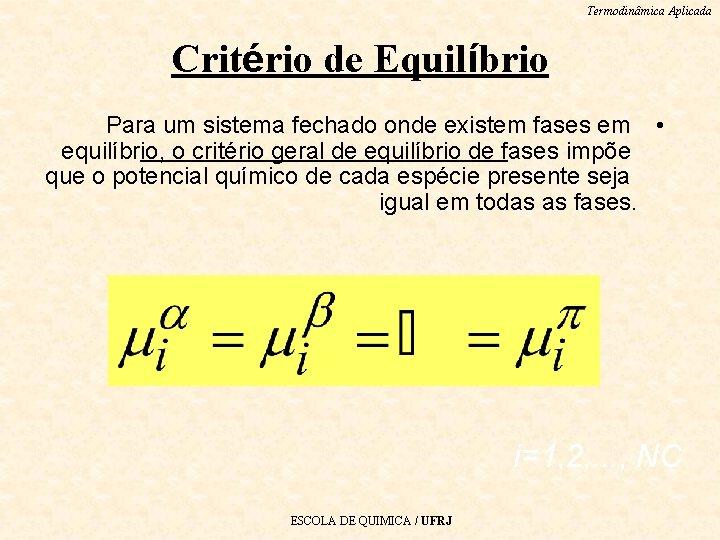 Termodinâmica Aplicada Critério de Equilíbrio Para um sistema fechado onde existem fases em •