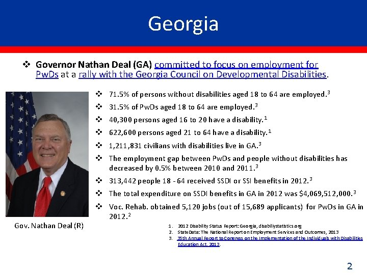 Georgia v Governor Nathan Deal (GA) committed to focus on employment for Pw. Ds