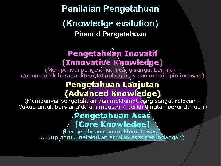 Penilaian Pengetahuan (Knowledge evalution) Piramid Pengetahuan Inovatif (Innovative Knowledge) (Mempunyai pengetahuan yang sangat bernilai