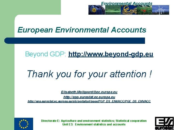 Environmental Accounts European Environmental Accounts Beyond GDP: http: //www. beyond-gdp. eu Thank you for