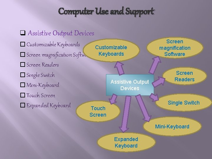 Computer Use and Support q Assistive Output Devices � Customizable Keyboards � Screen magnification
