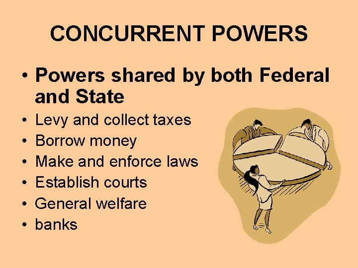 CONCURRENT POWERS • Powers shared by both Federal and State • • • Levy