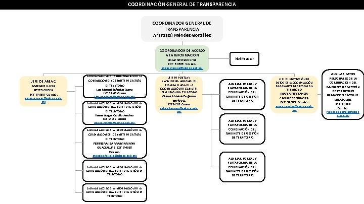 COORDINACIÓN GENERAL DE TRANSPARENCIA COORDINADOR GENERAL DE TRANSPARENCIA Aranzazú Méndez González COORDINADOR DE ACCESO