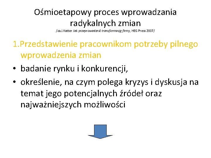 Ośmioetapowy proces wprowadzania radykalnych zmian /za. J. Kotter Jak przeprowadznić transformację firmy, HBS Press