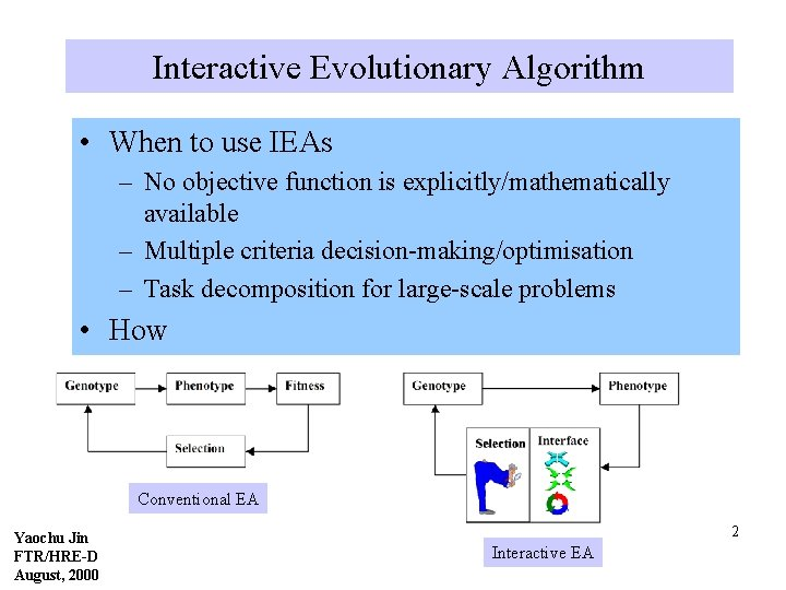 Interactive Evolutionary Algorithm • When to use IEAs – No objective function is explicitly/mathematically