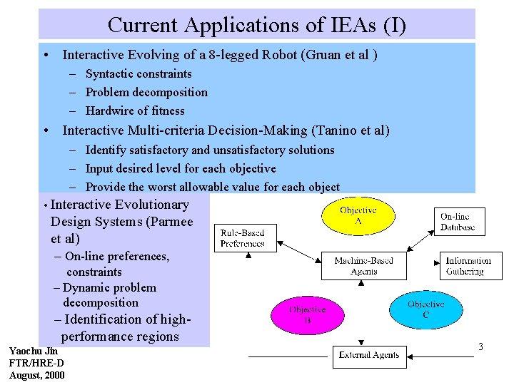Current Applications of IEAs (I) • Interactive Evolving of a 8 -legged Robot (Gruan