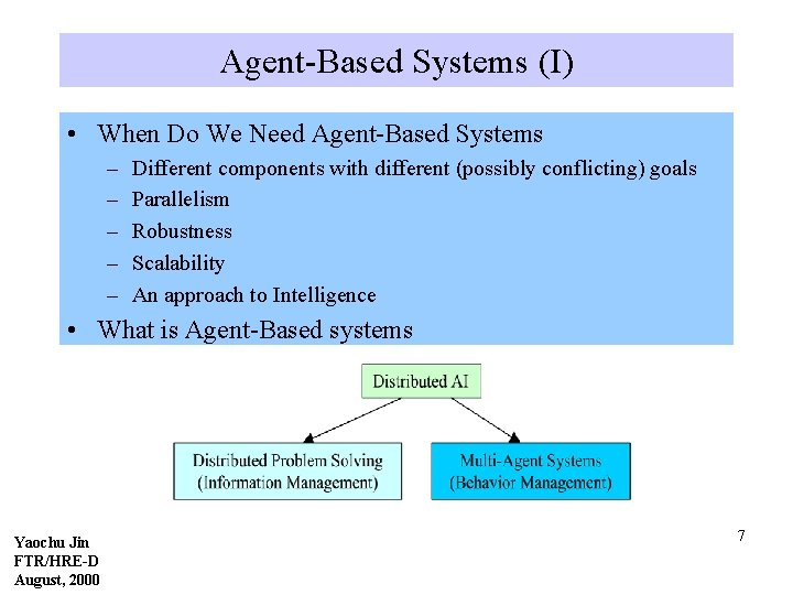 Agent-Based Systems (I) • When Do We Need Agent-Based Systems – – – Different