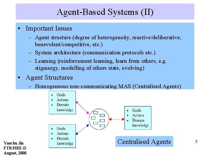 Agent-Based Systems (II) • Important Issues – Agent structure (degree of heterogeneity, reactive/deliberative, benevolent/competitive,