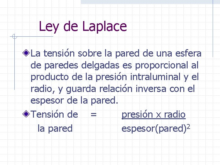 Ley de Laplace La tensión sobre la pared de una esfera de paredes delgadas