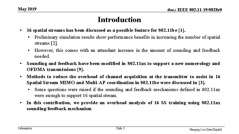 May 2019 doc. : IEEE 802. 11 -19/0828 r 0 Introduction • 16 spatial