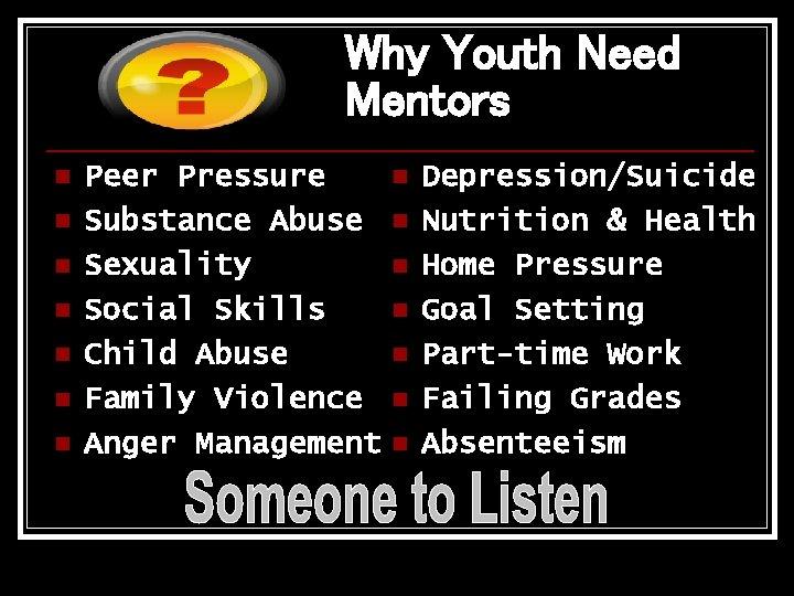 Why Youth Need Mentors n n n n Peer Pressure Substance Abuse Sexuality Social
