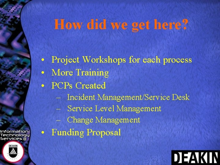How did we get here? • Project Workshops for each process • More Training