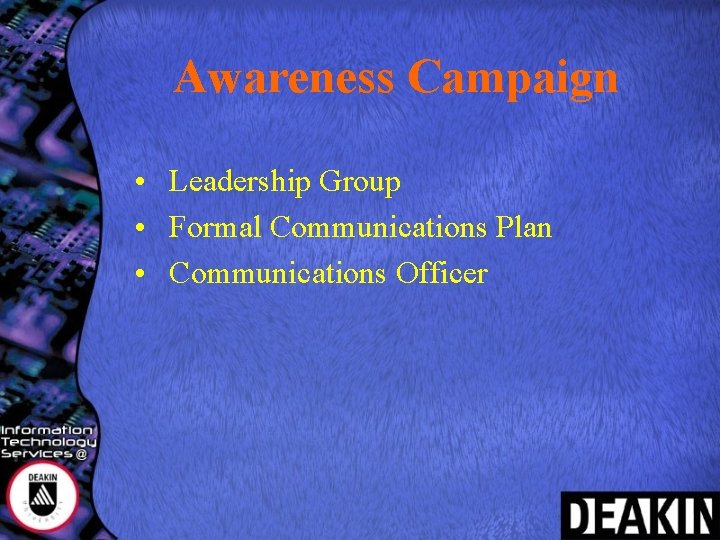 Awareness Campaign • Leadership Group • Formal Communications Plan • Communications Officer