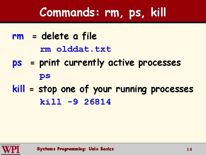 Commands: rm, ps, kill rm = delete a file rm olddat. txt ps =