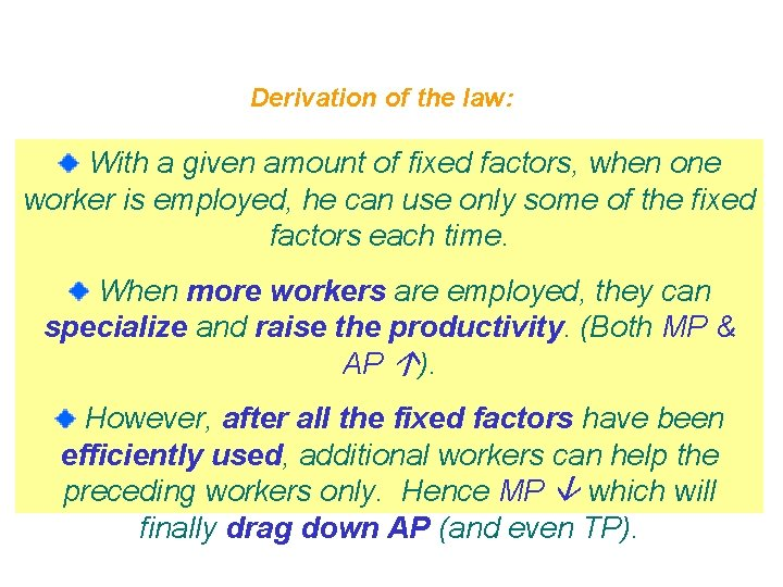 Derivation of the law: With a given amount of fixed factors, when one worker