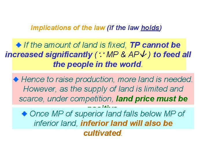 Implications of the law (if the law holds) If the amount of land is