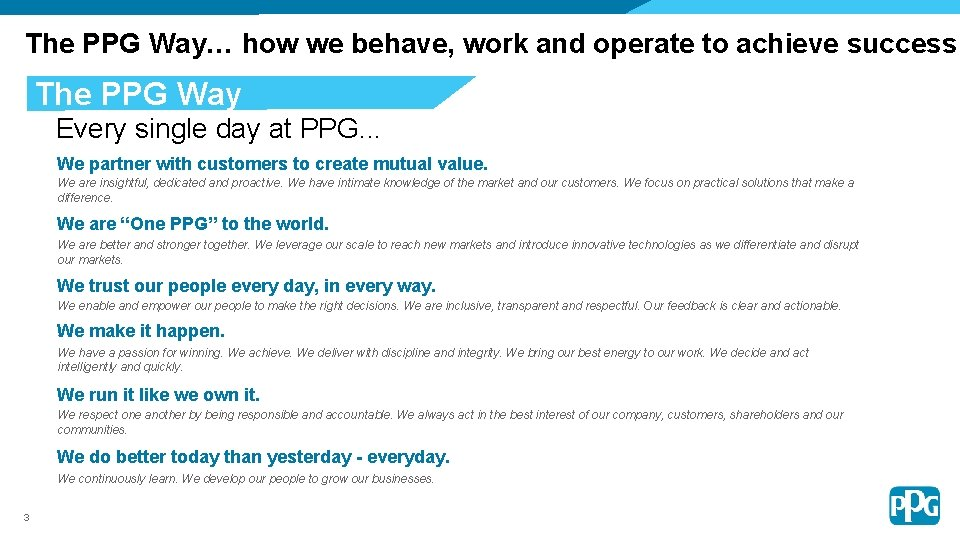 The PPG Way… how we behave, work and operate to achieve success The PPG