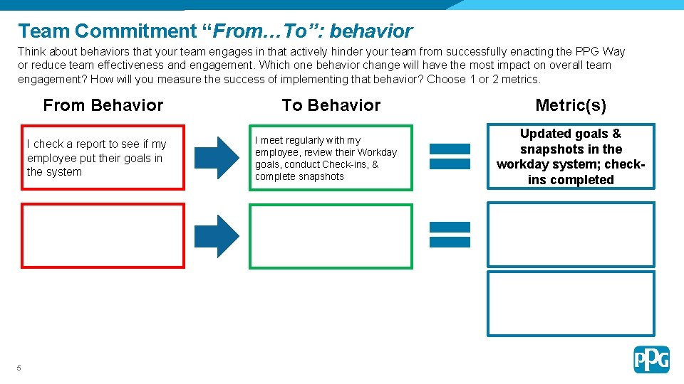 """Team Commitment """"From…To"""": behavior Think about behaviors that your team engages in that actively"""