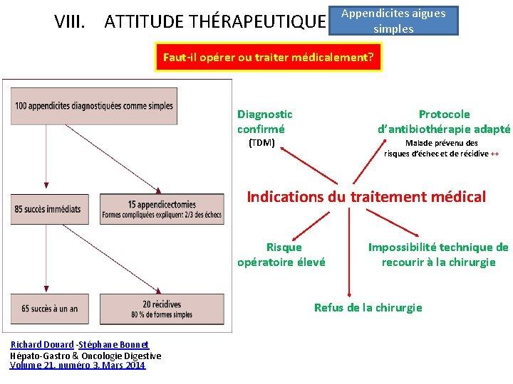 VIII. ATTITUDE THÉRAPEUTIQUE Appendicites aigues simples Faut-il opérer ou traiter médicalement? Diagnostic confirmé Protocole