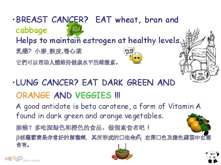 • BREAST CANCER? EAT wheat, bran and cabbage Helps to maintain estrogen at