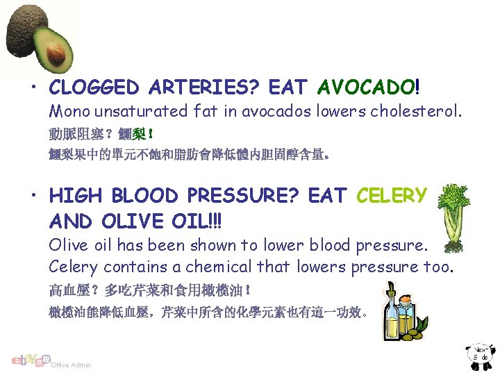• CLOGGED ARTERIES? EAT AVOCADO! Mono unsaturated fat in avocados lowers cholesterol. 動脈阻塞?鱷梨!