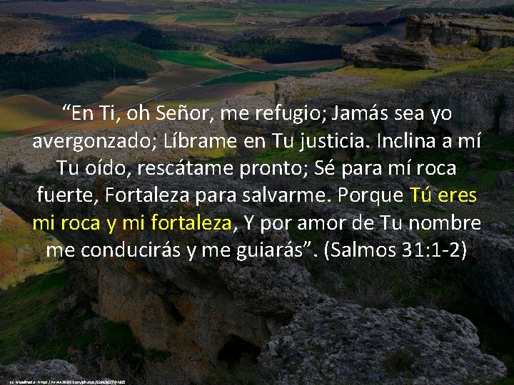 """""""En Ti, oh Señor, me refugio; Jamás sea yo avergonzado; Líbrame en Tu justicia."""