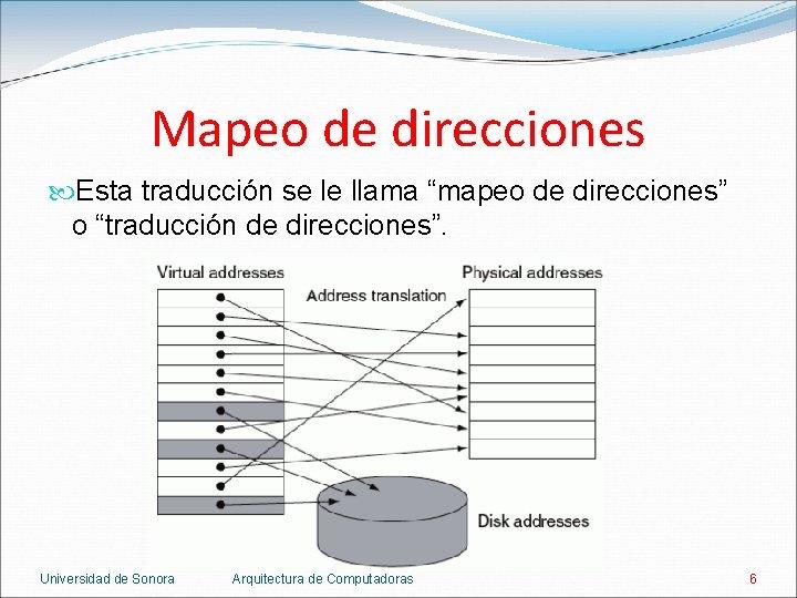 """Mapeo de direcciones Esta traducción se le llama """"mapeo de direcciones"""" o """"traducción de"""