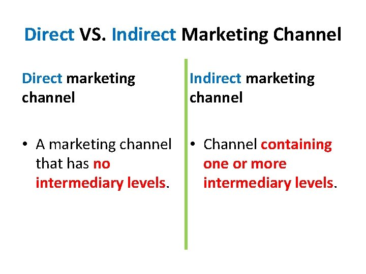 Direct VS. Indirect Marketing Channel Direct marketing channel Indirect marketing channel • A marketing