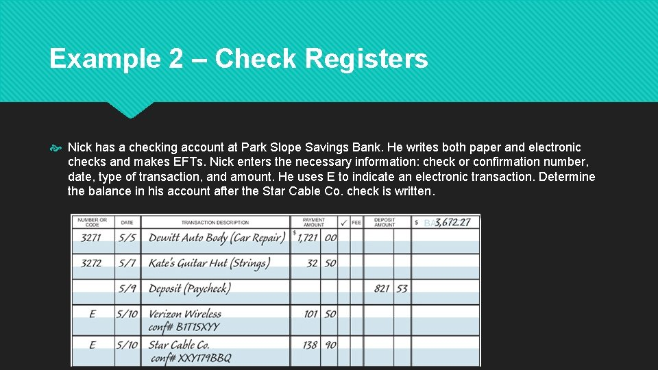 Example 2 – Check Registers Nick has a checking account at Park Slope Savings