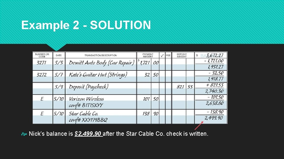 Example 2 - SOLUTION Nick's balance is $2, 499. 90 after the Star Cable