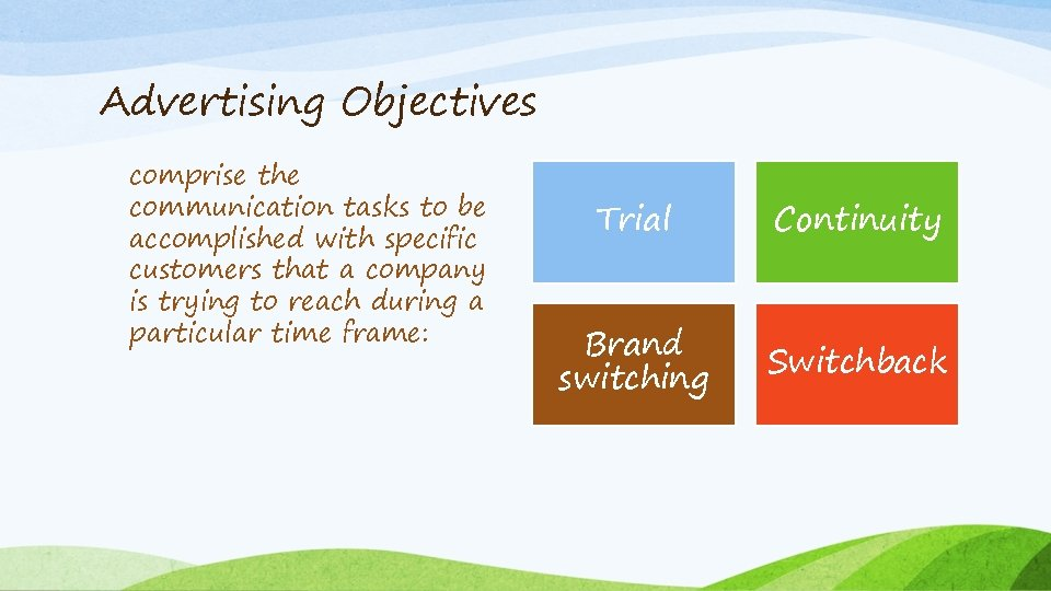 Advertising Objectives comprise the communication tasks to be accomplished with specific customers that a