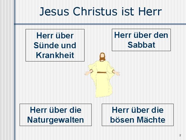 Jesus Christus ist Herr über Sünde und Krankheit Herr über die Naturgewalten Herr über