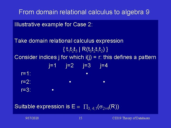 From domain relational calculus to algebra 9 Illustrative example for Case 2: Take domain