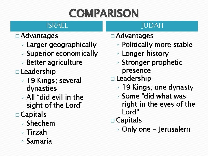 COMPARISON ISRAEL � Advantages ◦ Larger geographically ◦ Superior economically ◦ Better agriculture �