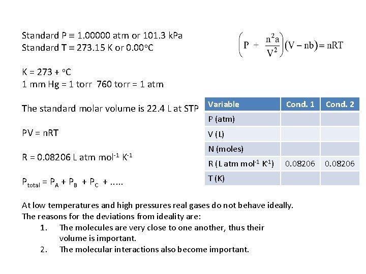 Standard P 1. 00000 atm or 101. 3 k. Pa Standard T 273. 15