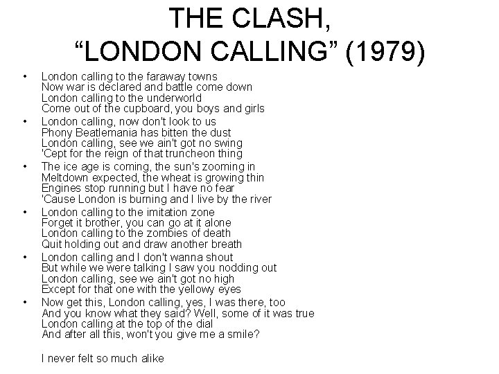 """THE CLASH, """"LONDON CALLING"""" (1979) • • • London calling to the faraway towns"""