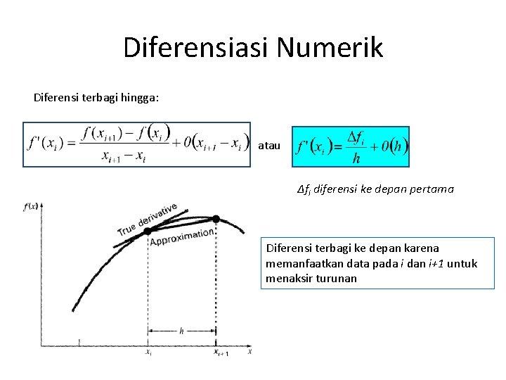 Diferensiasi Numerik Diferensi terbagi hingga: atau Δfi diferensi ke depan pertama Diferensi terbagi ke