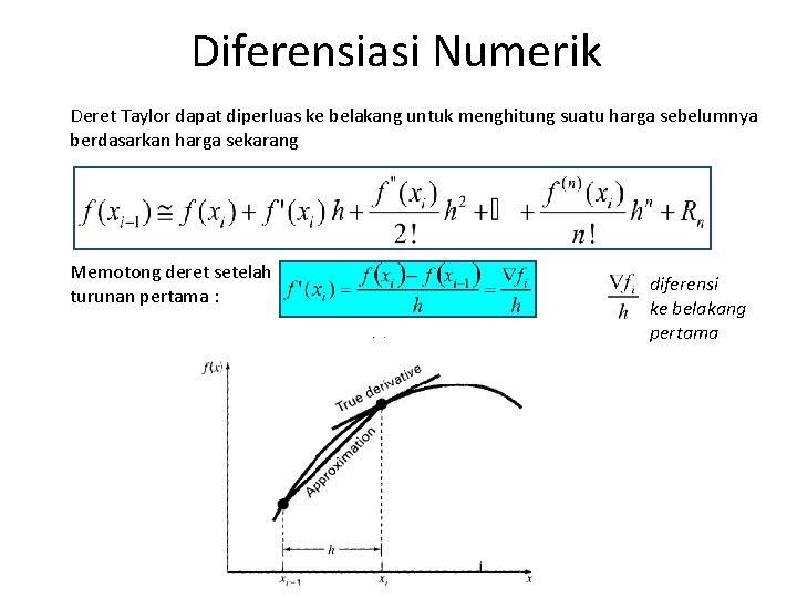 Diferensiasi Numerik Deret Taylor dapat diperluas ke belakang untuk menghitung suatu harga sebelumnya berdasarkan