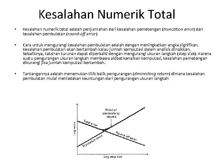 Kesalahan Numerik Total • Kesalahan numerik total adalah penjumlahan dari kesalahan pemotongan (truncation error)