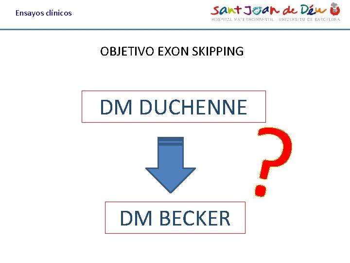 Ensayos clínicos OBJETIVO EXON SKIPPING ? DM DUCHENNE DM BECKER
