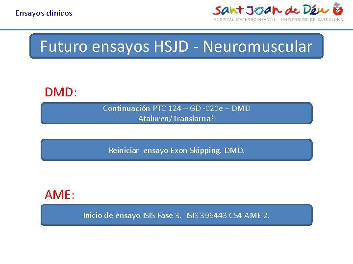 Ensayos clínicos Futuro ensayos HSJD - Neuromuscular DMD: Continuación PTC 124 – GD -020