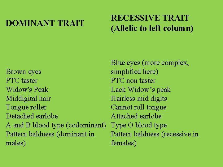 DOMINANT TRAIT RECESSIVE TRAIT (Allelic to left column) Blue eyes (more complex, Brown eyes