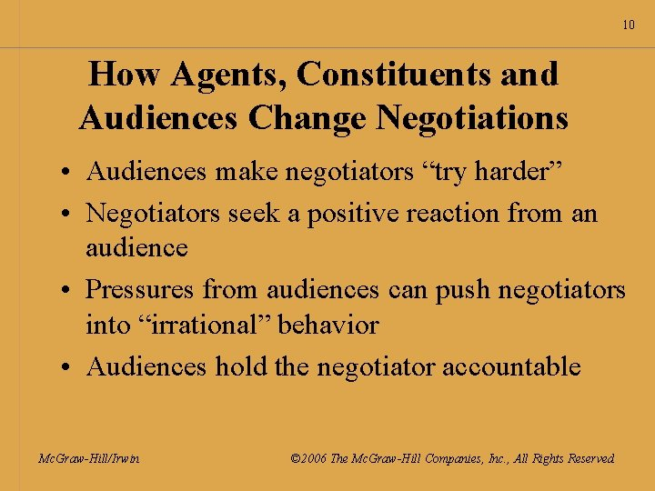 """10 How Agents, Constituents and Audiences Change Negotiations • Audiences make negotiators """"try harder"""""""