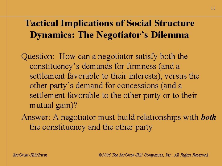 11 Tactical Implications of Social Structure Dynamics: The Negotiator's Dilemma Question: How can a
