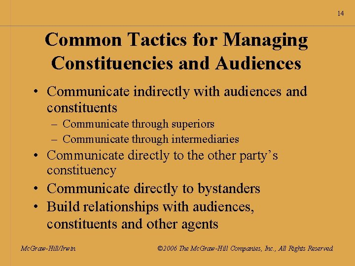 14 Common Tactics for Managing Constituencies and Audiences • Communicate indirectly with audiences and