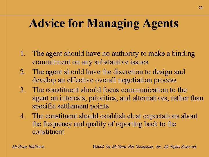 20 Advice for Managing Agents 1. The agent should have no authority to make
